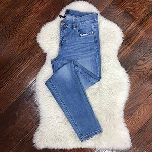 WHMB Skinny Leg Jeans Zipper Ankle Light Wash Sz 6